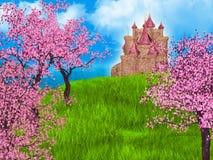 Предпосылка сказки с замком и Сакурой фантазии Стоковое фото RF