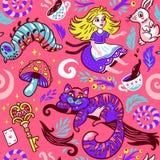 Предпосылка сказки с милыми персонажами из мультфильма от Алисы в стране чудес Стоковые Изображения RF