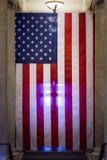 Предпосылка смертной казни через повешение патриотизма США крупного плана американского флага подсвеченная Стоковые Фотографии RF