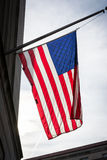 Предпосылка смертной казни через повешение патриотизма США крупного плана американского флага подсвеченная Стоковое Изображение