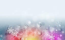 Предпосылка снега зимы Multicolor Стоковые Изображения