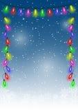 Предпосылка снега рождества с праздничными светами и звездами бесплатная иллюстрация