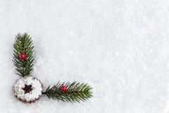 Предпосылка снега с печеньем и украшением рождества Стоковые Изображения