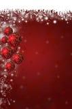 Предпосылка снежинок и безделушек рождества Стоковая Фотография