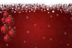 Предпосылка снежинок и безделушек рождества Стоковое Фото