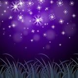 Предпосылка снежинок фиолетовая показывает обои Wintertime или лед p Стоковые Фото