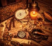 Предпосылка сокровища пиратов стоковая фотография