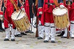 Предпосылка средневековые солдаты, барабанщики Стоковое Фото