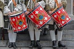 Предпосылка средневековые солдаты, барабанщики Стоковое Изображение