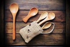 Предпосылка стиля ложки деревянная тайская Стоковое фото RF