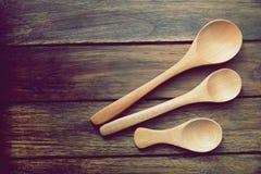 Предпосылка стиля ложки деревянная тайская Стоковое Фото