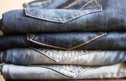 Предпосылка стога джинсов Стоковое Изображение