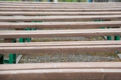 Предпосылка строки деревянных скамей на улице в лете стоковые изображения rf