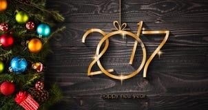 Предпосылка счастливого Нового Года 2017 сезонная с безделушками рождества Стоковые Изображения RF