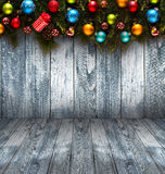 Предпосылка счастливого Нового Года 2017 сезонная с безделушками рождества Стоковая Фотография