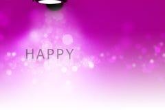Предпосылка счастливых светов текста розовая с рамкой стоковое фото