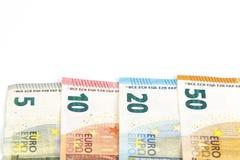 Предпосылка счетов банкнот евро валюты Европейского союза евро 2, 10, 20 и 50 Экономика богачей успеха концепции На белой предпос Стоковые Изображения RF