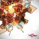 Предпосылка с абстрактной на вынос кофейной чашкой Стоковое Изображение RF