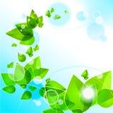 Предпосылка с абстрактными зелеными листьями Бесплатная Иллюстрация