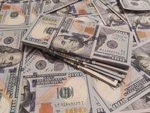 Предпосылка с американцем денег 100 долларов Стоковое Фото