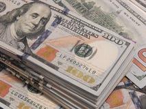 Предпосылка с американцем денег 100 долларов Стоковые Фото