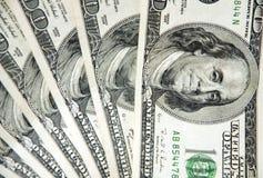 Предпосылка с американцом денег 100 счетов доллара Стоковое фото RF