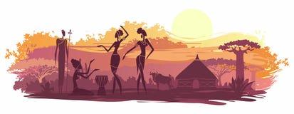 Предпосылка с ландшафтом Южной Африки Стоковое Изображение RF