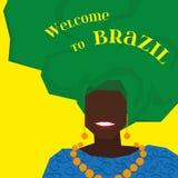 Предпосылка с бразильской женщиной в тюрбане вектор Стоковые Фотографии RF