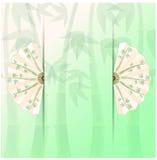 предпосылка с вентиляторами и бамбуком Иллюстрация вектора