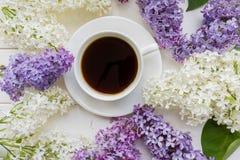 Предпосылка с ветвями сирени и чашки черного кофе Стоковые Изображения
