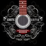 Предпосылка с гитарой Стоковая Фотография RF