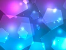 Предпосылка с голубыми и фиолетовыми пентагонами Стоковые Изображения RF