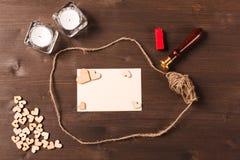 Предпосылка с деревянными сердцами Стоковое фото RF