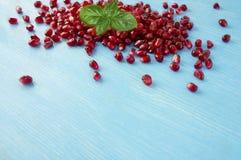 Предпосылка сделанная из красных семян гранатового дерева с базиликом Стоковое фото RF