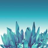 Предпосылка с ледовитыми голубыми габитусами кристалла 3d иллюстрация штока