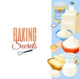 Предпосылка с едой шаржа: ингридиенты выпечки - мука, яичка, масло, соль, взбила сливк, молоко также вектор иллюстрации притяжки  иллюстрация штока