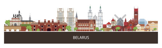 Предпосылка с зданиями страны Беларуси и место для текста горизонтальное знамя ориентации, рогулька, заголовок для места Стоковое Изображение