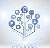 Предпосылка с линиями, дерево абстрактной технологии роста бесплатная иллюстрация