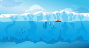 Предпосылка с длинными айсбергом и кораблем вектор Стоковая Фотография