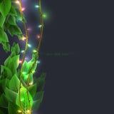 Предпосылка с листвой и сверкная светами Стоковая Фотография RF