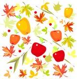 Предпосылка с листьями и яблоками осени Стоковое Изображение RF