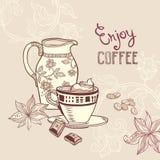 Предпосылка с кофейной чашкой и сливочником Стоковое Изображение RF