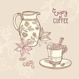 Предпосылка с кофейной чашкой и сливочником Стоковое Фото