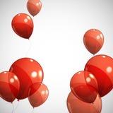 Предпосылка с красными воздушными шарами Стоковые Изображения