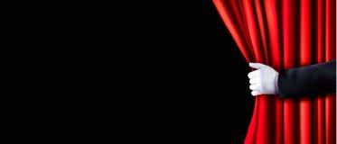 Предпосылка с красными занавесом и рукой бархата иллюстрация вектора