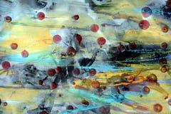 Предпосылка с красными оттенками воска и акварели Стоковая Фотография RF