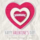 Предпосылка с красным сердцем валентинки и желания отправляют СМС Стоковое фото RF