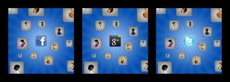 Предпосылки с кубиками и иконами потребителя и социальной сетью Стоковое Изображение