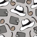 Предпосылка с куря трубами, шляпами и портмонами Стоковые Фото