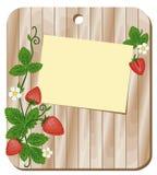 Предпосылка с клубниками и листом записи Стоковое Изображение